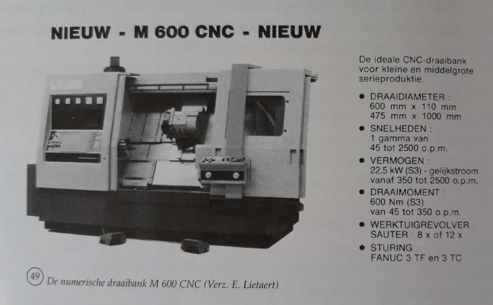 De numerische draaibank M 600 CNC