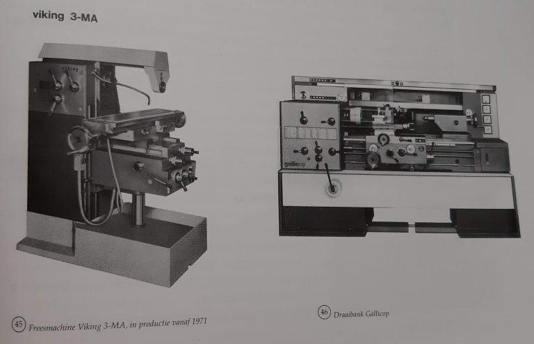 Links: freesmachine Viking 3-MA - Rechts: draaibank Gallicop